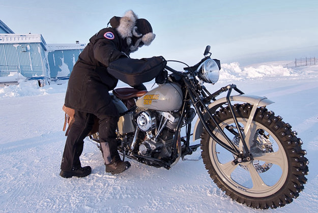 A W&W Cycles Wrecking Crew Harley motorcycle on the ice road