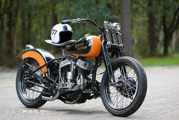 1948 Harley WL custom motorcycle owned by Patrick Heselmans