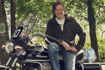 James May with motorcycle