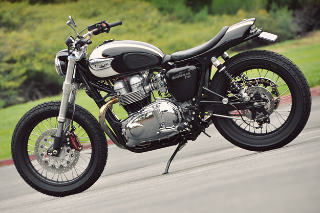 This Triumph Bonneville T100 custom was built for Arctic Monkeys drummer Matt Helder.