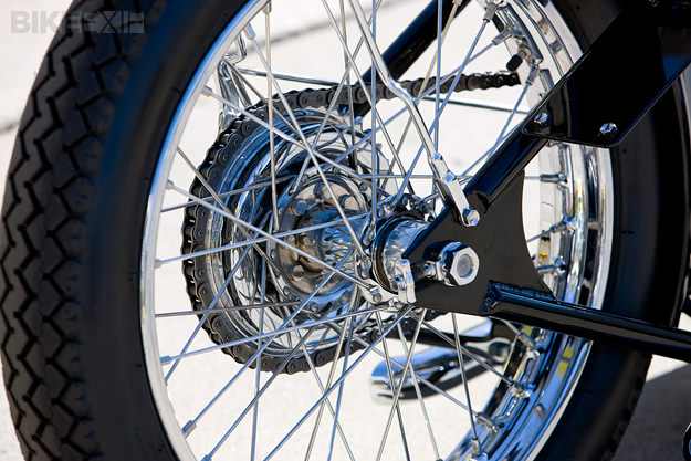 clean and narrow rear rim spoke and polish
