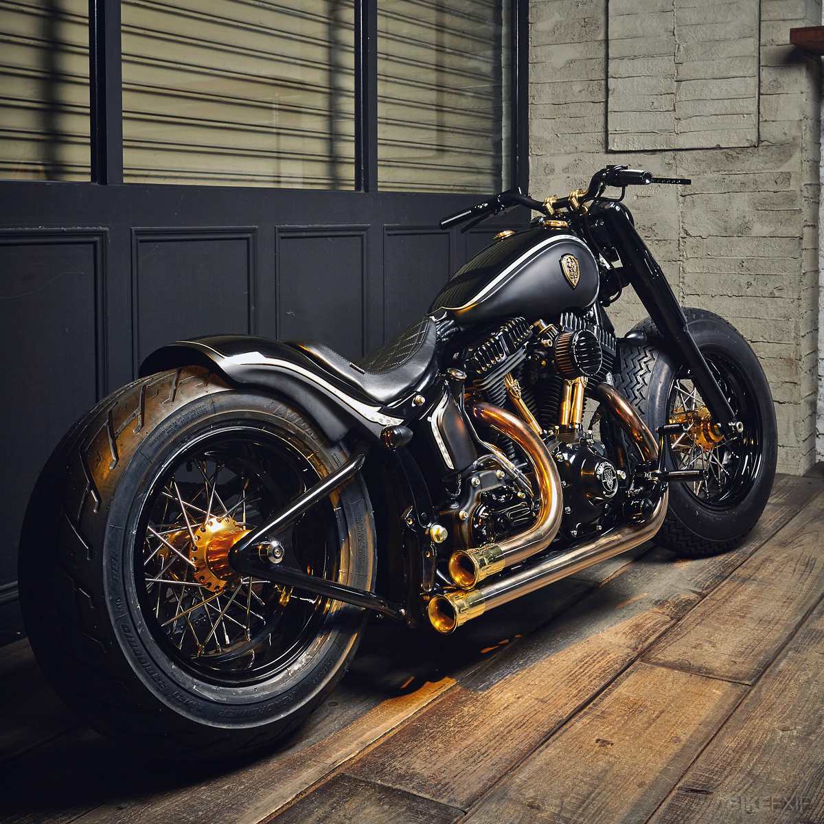 harley davidson custom bike black mammoth fat spoke wheels. Black Bedroom Furniture Sets. Home Design Ideas