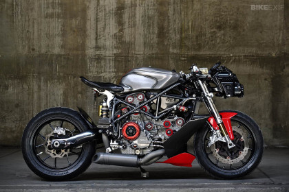 When the time comes to build a motorcycle for the next Terminator movie, it should be this one. It's a Ducati 749 given a radical custom job.