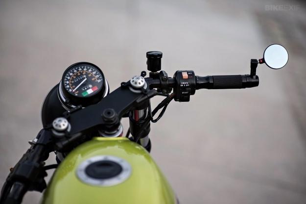 Moto Guzzi V65 cafe racer built by the Polish workshop PJP Motocykle.