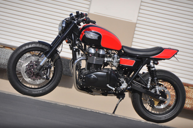 Triumph street tracker built by Mule Motorcycles.
