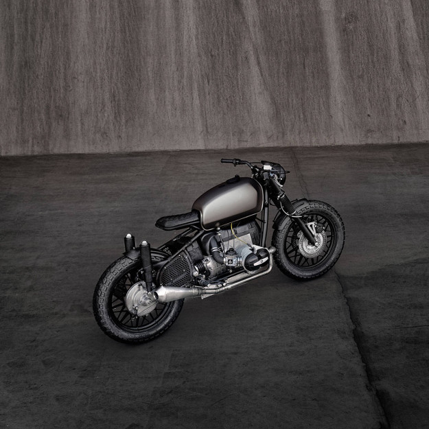 This is 'Voltron,' a 1964 BMW R69S customized by ER Motorcycles.