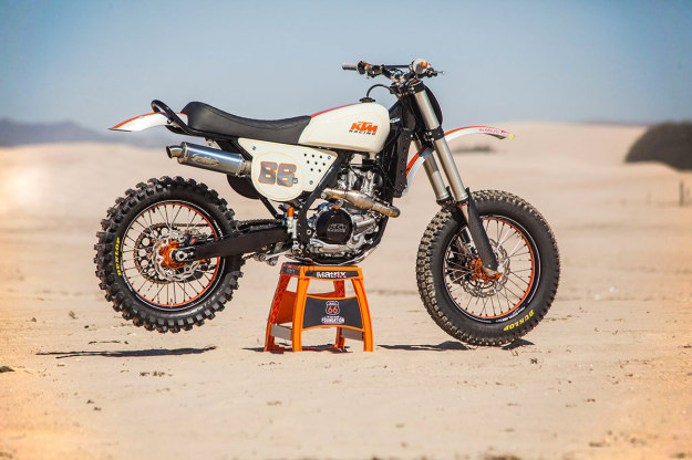 No, it's not a vintage dirtbike: It's a KTM 450 SX-F cleverly customized by Roland Sands Design.