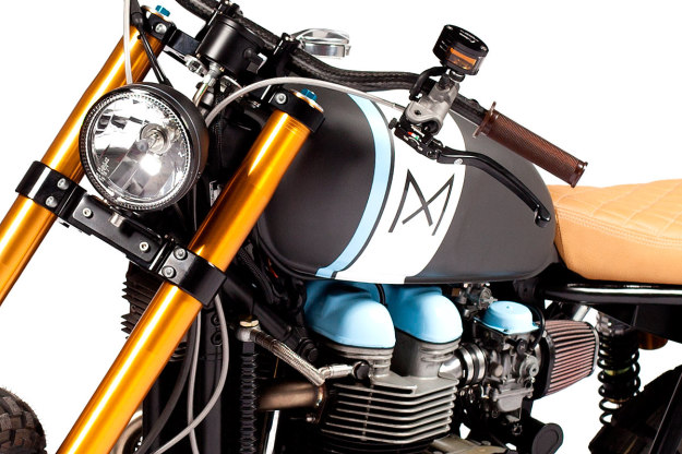 Portugal's Maria Motorcycles have added a startling splash of color to their custom Triumph Bonneville.