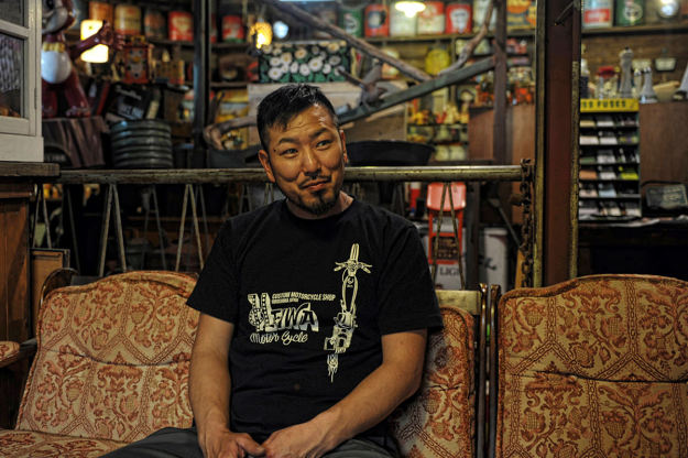 Kengo Kimura, owner of the Japanese motorcycle workshop Heiwa.