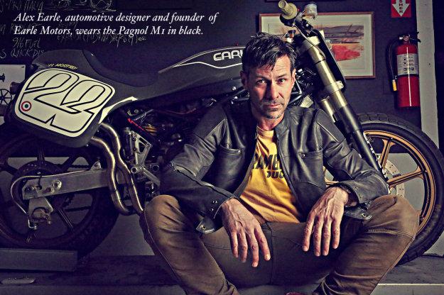 Alex Earle wears a Pagnol M1 motorcycle jacket