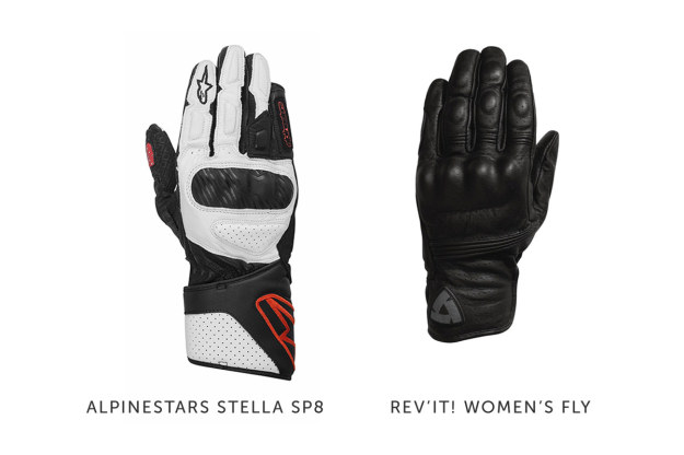 Women's motorcycle gloves by Alpinestars and REV'IT!