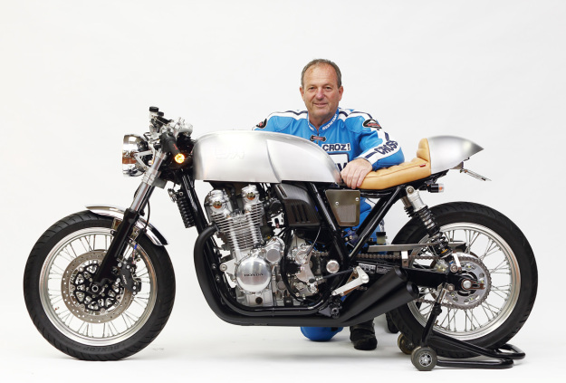 Legendary racer Graeme Crosby with the Moriwaki 40th Anniversary Honda CB1100EX custom motorcycle.