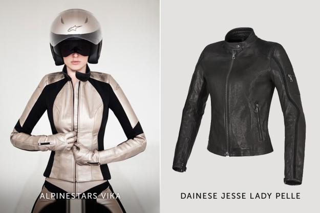 Alpinestars and Dainese women's motorcycle jackets.