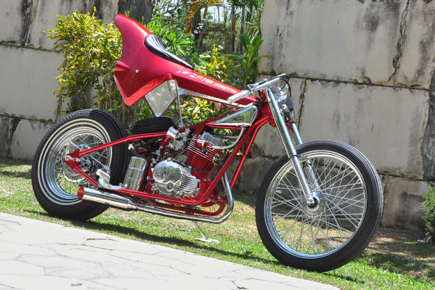 The incredible Cleveland Cyclewerks 'Flying Rooster,' a one-off custom tribute to the Funny Car drag racers of the 1970s.