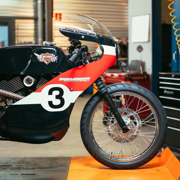 Joeri Van Ouytsel's stunning old school racer, based on a Harley Street 750.