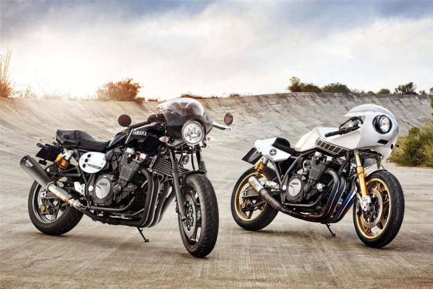 2015 Yamaha XJR1300 and the Deus 'Eau Rouge' custom.