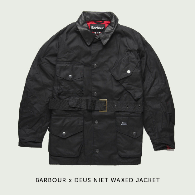 Barbour x Deus motorcycle jacket.