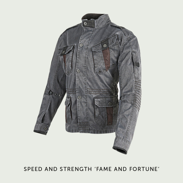 Speed and Strength Fame and Fortune motorcycle jacket.