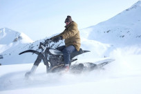Northern Lights Optics' incredible vintage Yamaha HL500 snow motorcycle.