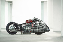 Looks good, goes fast: Séb Lorentz's Sprintbeemer adds style to motorcycle drag racing.