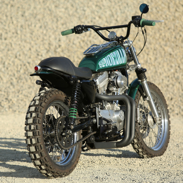 Blondezilla: A Sportster Scrambler built by Motolady