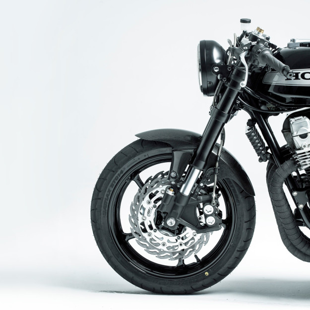 A textbook modern-day cafe racer: Honda CB750 by Rebellion Motorworks of Spain.