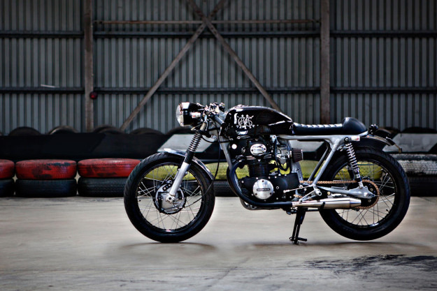 The Black: a stealthy 1971 Honda CB350 from Australian workshop 66 Motorcycles.