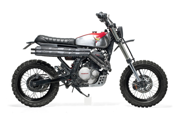 Based on the Honda Dominator, this custom scrambler comes from Dream Wheels Heritage and Capêlo's Garage of Portugal.