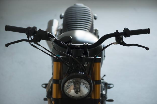 A Triumph Bonneville Scrambler from Sweden's 6/5/4 Motors