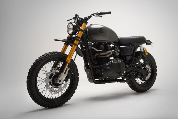 A Triumph Bonneville Scrambler from Sweden's 6/5/4 Motors