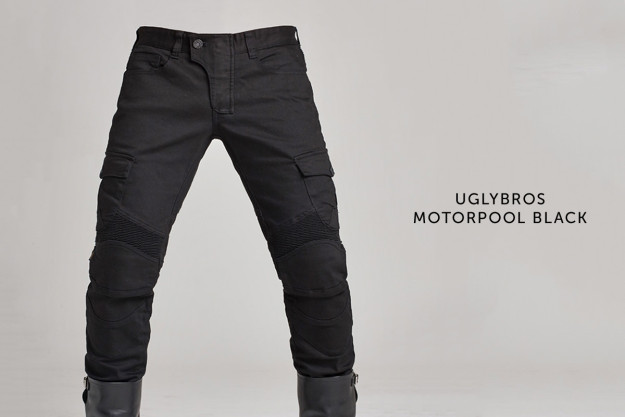 New from uglyBROS: a solid black version of the hugely popular Motorpool motorcycle jeans.