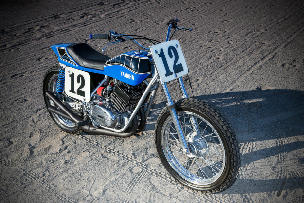 Smoking hot: Peter Rowland's Yamaha RD350 dirt tracker.