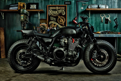 Guerrilla Four: a stealthy custom Yamaha XJR 1300 from Rough Crafts.