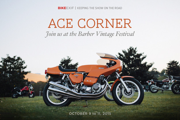 Show time: Bike EXIF sponsors Ace Corner at the Barber Vintage Festival