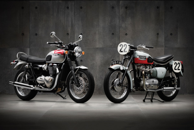 New and old Triumph Bonnevilles