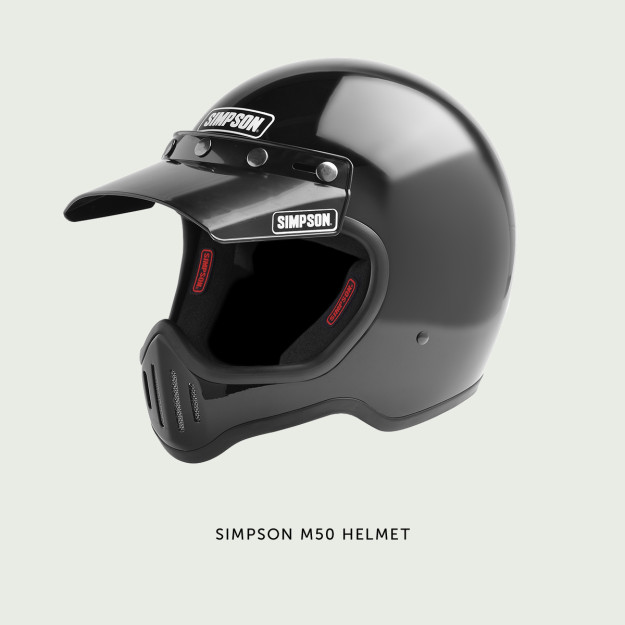 The Simpson M50: a modern remake of a vintage motocross helmet.