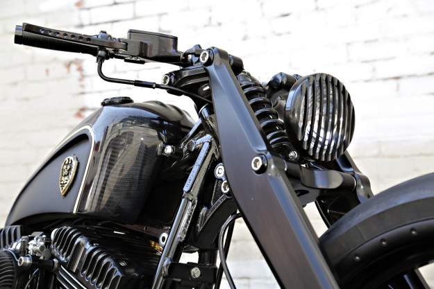 Dark Cannon: a custom Harley Softail Rocker C by Rough Crafts.