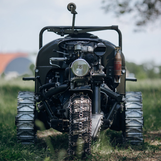 3 Wheel Motorcycle: this remarkable  Moto Guzzi has full-time 3WD and a six-speed transmission, but was built in the 1960s.