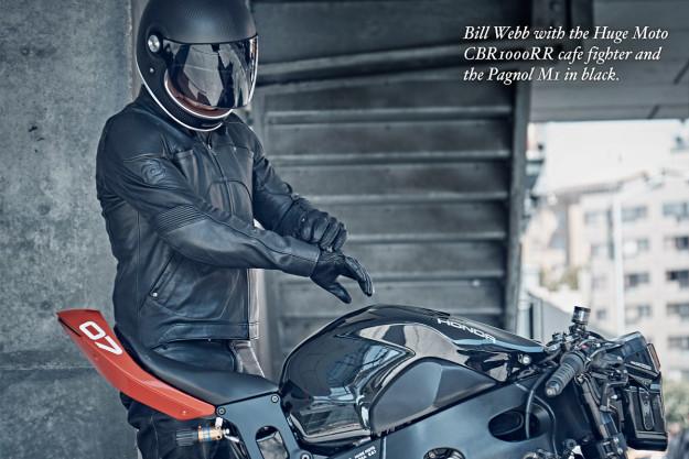 Bill Webb wears the Pagnol M1 motorcycle jacket.