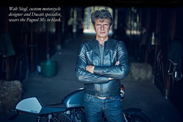 Walt Siegl wears the Pagnol M1 motorcycle jacket.