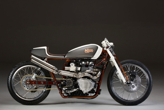 Giving the modern Triumph Bonneville a board tracker vibe: Mean Machines shows the way.