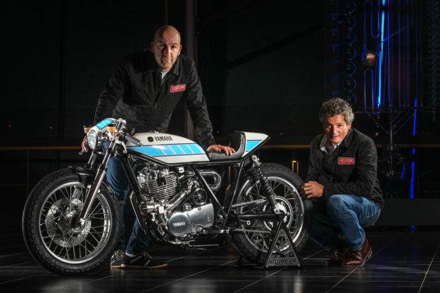 Belgian world champion bike builder Fred 'Krugger' Bertrand and famed MotoGP mechanic Bernard Ansiau.