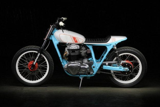 Uwe Kostrewa's colorful Kawasaki W650 tracker.