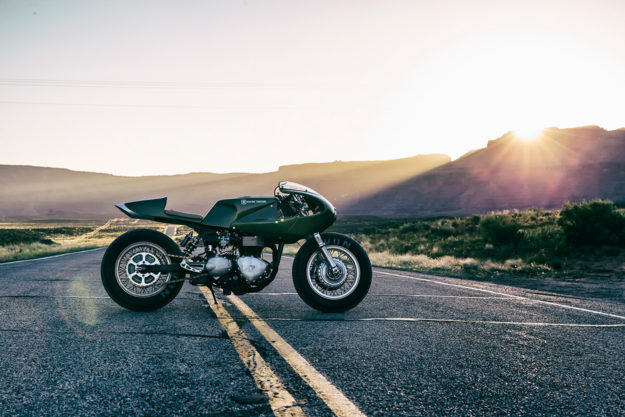 Three Martini Lunch: A mean green custom Triumph Thruxton from ICON 1000.