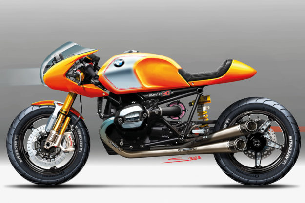 Original sketch for the BMW Concept 90 motorcycle
