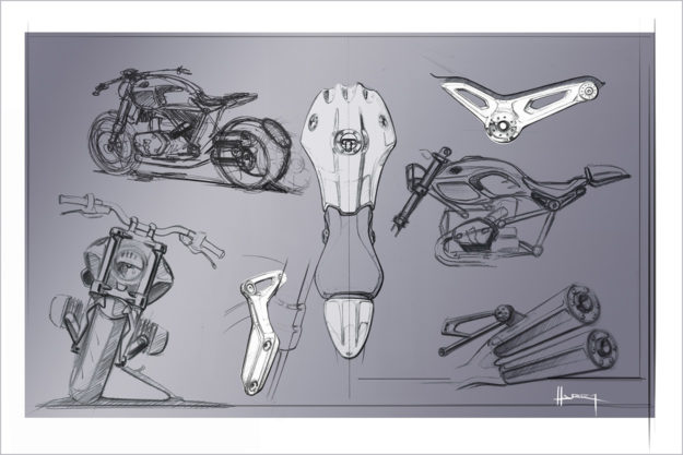 Early BMW R nineT concept sketch