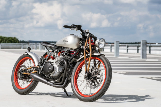 Hard to believe this this board tracker-style custom with a one-off girder fork started life as a Suzuki GS550E.