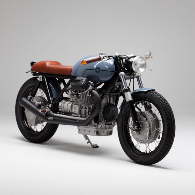 A Guzzi custom build by Axel Budde of Kaffeemaschine, who plans to hand it down to his daughter.