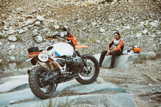 Laszlo Peres and the BMW Lac Rose R nineT concept.