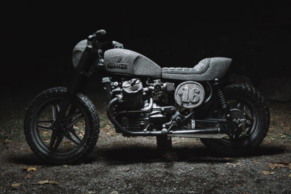 A Honda CX500 customized with basalt stone bodywork by Chris Zernia of Germany.